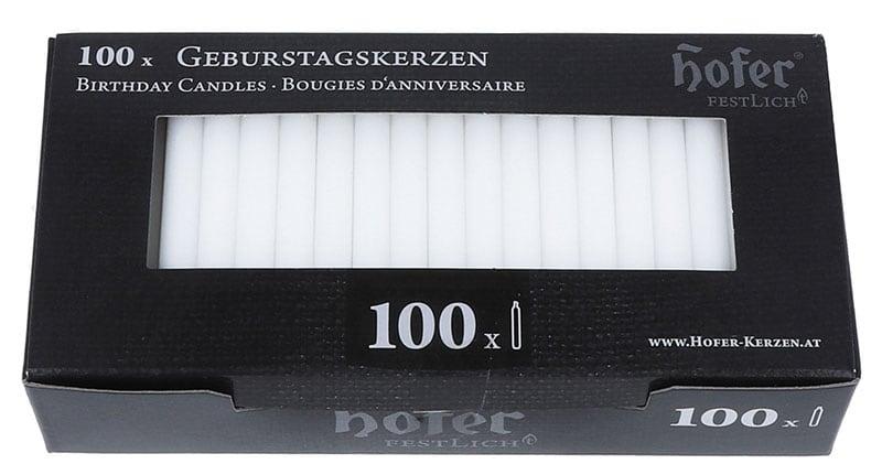 Geburtstagskerzen 100er, weiß