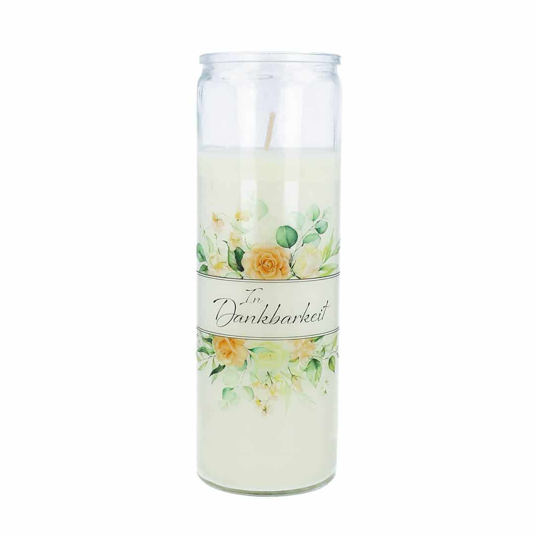Gedenkkerze Glas mit Blumenmotiv In Dankbarkeit