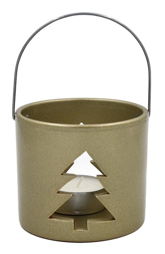 Keramiklaterne WEIHNACHTSBAUM, gold