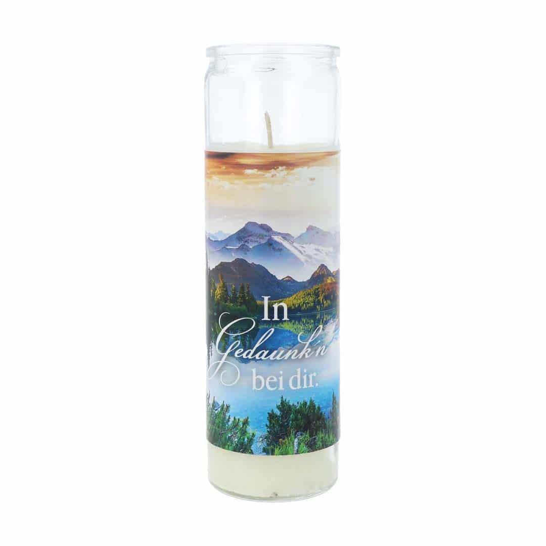 Gedenkkerze Glas mit Mundartmotiv In Gedanken bei dir